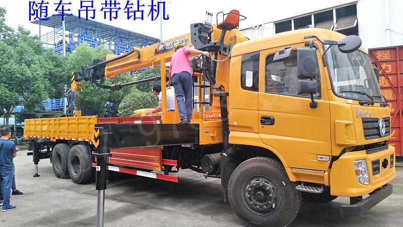 后八轮14吨随车吊带钻机 一车三用
